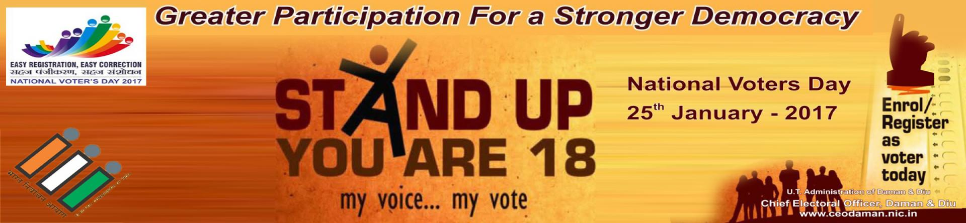 National Voter's Day - Stand up you are 18
