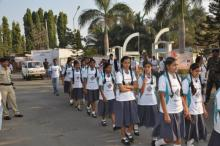 School girls participating in rally